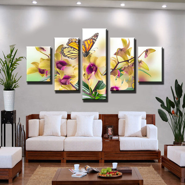 Unframed 5 Pieces Noble And Beautiful Phalaenopsis Floral Large HD Print Art Wall Painting Artwork Wall Art Picture