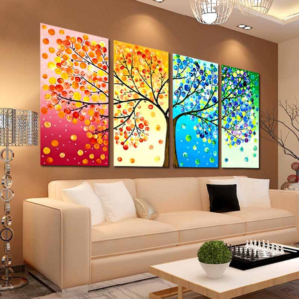 3D Diy DMC counted cross stitch printed on canvas Kits chinese four picture kits for embroidery four seasons beauty trees