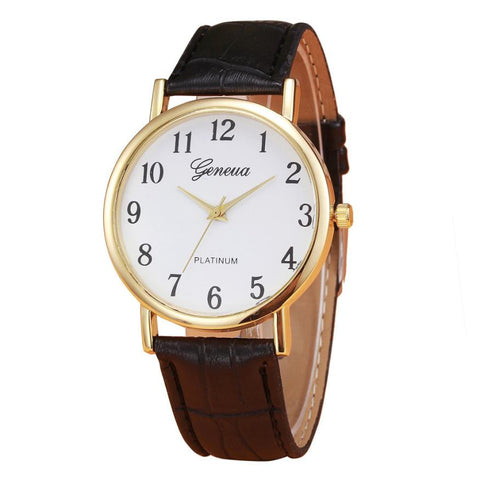 Faux Leather Mens Quartz Wristwatch Watch