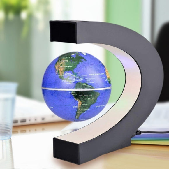C shape Black Blue LED World Map Decor Home Electronic Magnetic Levitation Floating Globe Antigravity LED Light Decoration