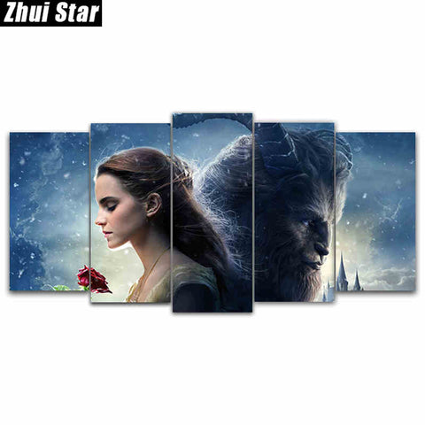 "5D DIY Full Square Diamond Painting ""beauty beast"" Multi-picture Combination Embroidery Cross Stitch Mosaic Decor gift"