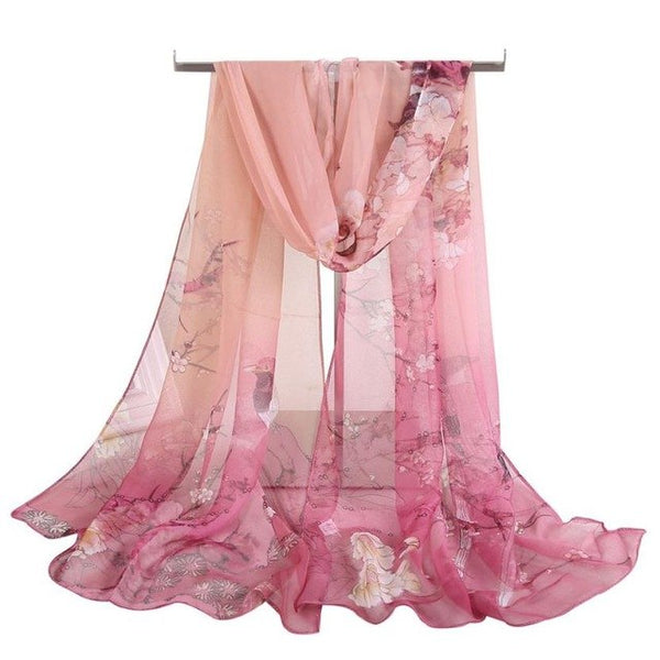 Chiffon Silk Animal Bird printed Scarf Wrap Shawl Long