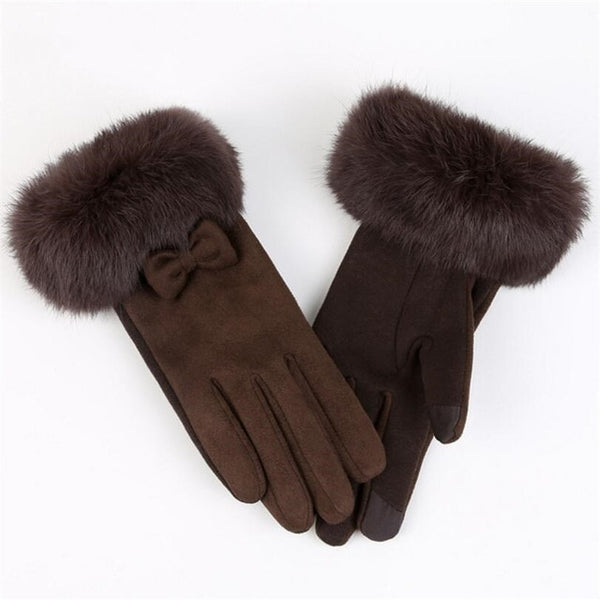 Elegant Suede Glove Warm Bow Driving Soft Mittens Wrist Female Touched Screen Gloves