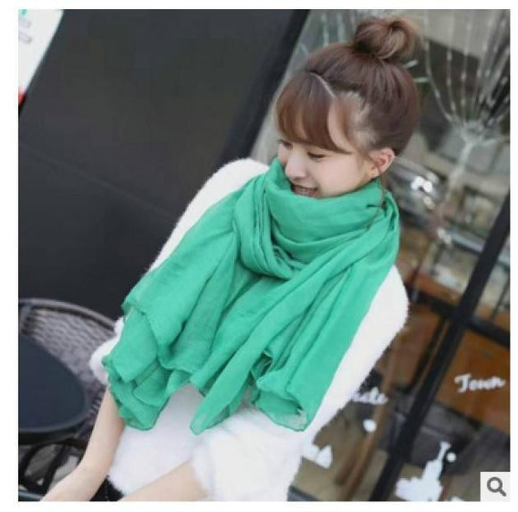Fashion Winter Scarves Women Hijab Scarf Cotton Pure Color
