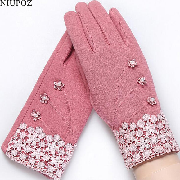 Fashion Elegant Womens Touch Screen Velvet Gloves