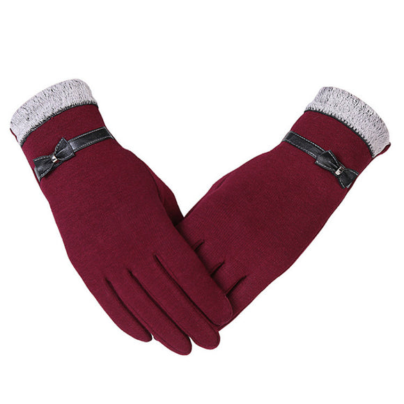 Women Winter Gloves Cute Bow Warm Full Finger