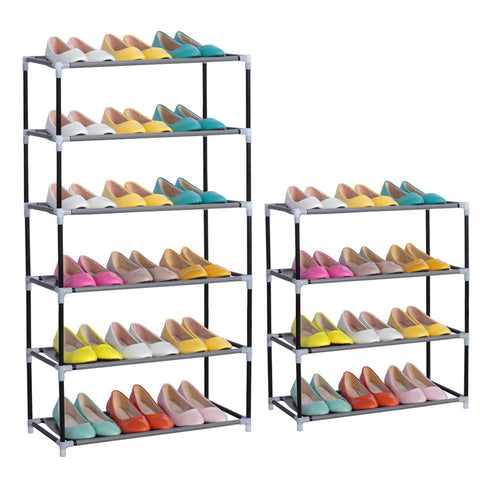 Room Furniture Portable Shoe Racks Folding 4-6 layers Mental Stainless Combination Dust proof Shoes Shelf Practical and Stable