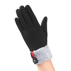 Genuine Rabbit Fur Gloves Cashmere Winter  Elegant Glove For Women