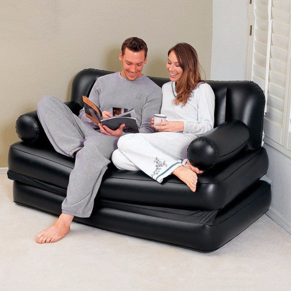 Inflatable Double Sofa Air Cushion Folding Bed Couch Blow Up Mattress Lazy Recliner Sofa Comfortable Lounger With Pump