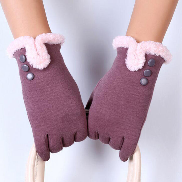 New Elegant Plush Female Winter Gloves
