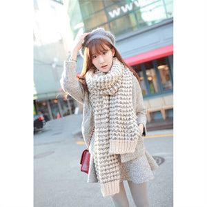Lady Winter Long Mohair Wool Soft Warm Scarf Vogue Wrap Shawl Plaid