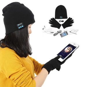 Warm Hat Wireless Bluetooth Headset Headphone Smart Cap with Glove