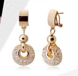 Luxury Rose Gold Drop Earrings Champagne Wire Zircon Crystal