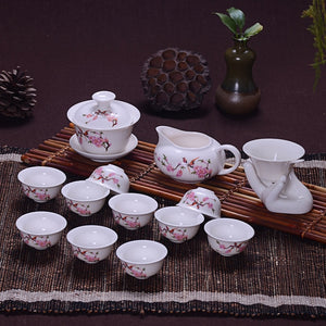 14 Pcs Travel Tea Sets Chinese Portable Ceramic Bone China