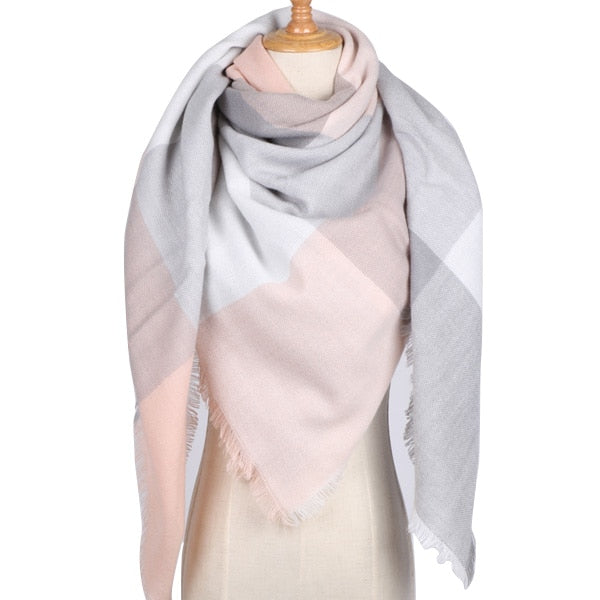 Cashmere Plaid Winter Triangle Scarf For Women