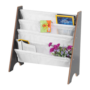 Children Book Rack,Kids Book Rack Storage Sling Bookshelf Furniture Wooden+Polyester Bookcase Book Storage Display Rack Bookshelf With 4 Pockets