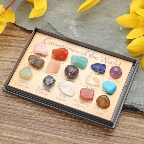 1 Pack Gemstone Rock Collection Mix Gems Crystals Natural Mineral Ore Specimens Gemstone with Box Ornaments Home DIY Decor
