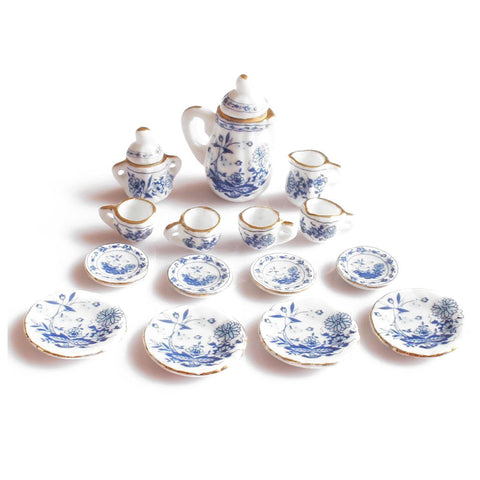 Dining Ware China Ceramic Tea Set Dolls House Miniatures Blue Flower