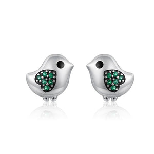 Sterling Silver 100% 925 Lovely Little Bird Clear CZ Green Heart Stud Earrings