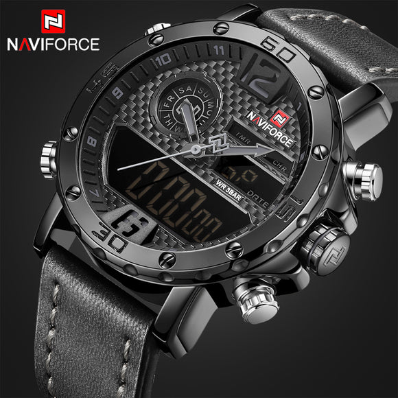 Men Casual Sport Watches Men's Leather Quartz
