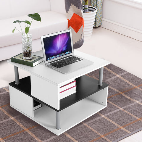 Modern Decor Side Table High Gloss Coffee Table Side End Shelf Black & White Living Room Home Furniture