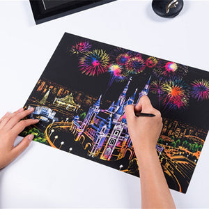 10 Cities Style DIY Handmade City Night Landscape Scratch Painting Book Brush Set Hand Painted Home Decoration