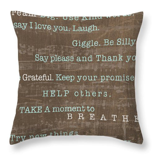 Encouraging Words Throw Pillow