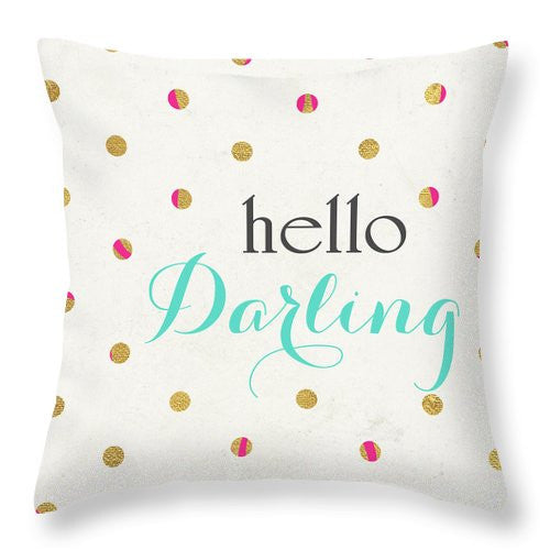 Hello Darling Square Throw Pillow