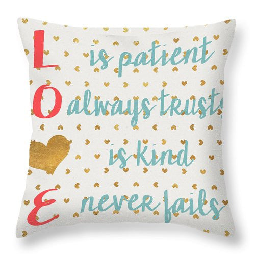Love With Gold Hearts Throw Pillow