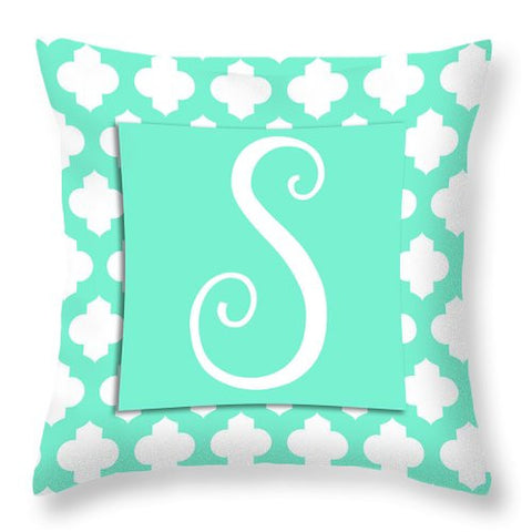 Teal Quatrefoil Monogram (s) Throw Pillow