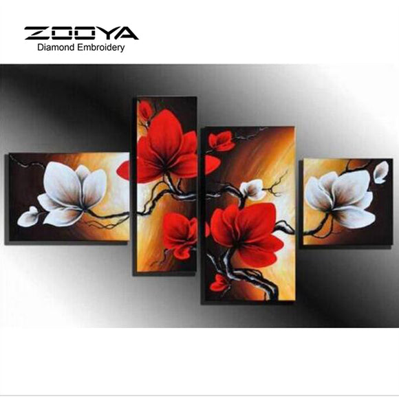 5D DIY Diamond Painting Flower Diamond Painting Cross Stitch Beautiful Floral 4pcs Needlework Home Decorative BJ1190