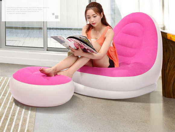 fashion new design blue and pink love inflatable sofa chair, air inflated living room sofa recliner with footrest, foot ottoman