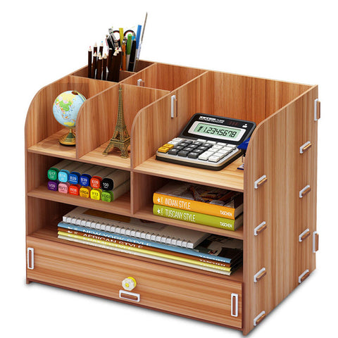 DIY Desktop Storage Box Large Capacity Multi-layer Drawer File Documents Organizer Shelf  Wooden Bookshelf Office Supplies