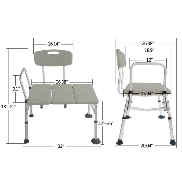Shower Chair 10 Height Adjustable Bathtub Medical Shower Transfer Bench Bath New