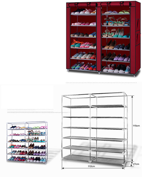 New 6-Row 2-Line 12 Lattices Shoe Cabinet Rack Shoes Stand Storage Organizer