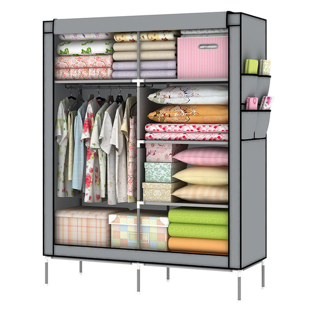 175x45x110cm Modern Simple Wardrobe Household Fabric Folding Cloth Ward Storage Assembly King Size Reinforcement Combination