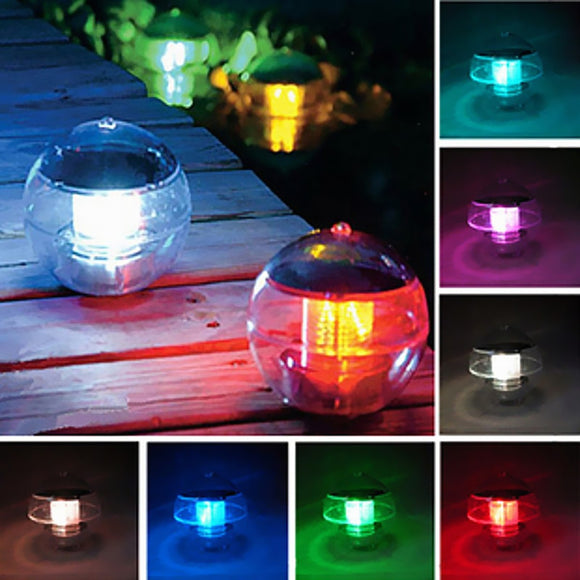 Waterproof LED Solar Powered Floating Light Multicolor Changing Hanging Globe Ball Wall Lamp Lights Outdoor Indoor Garden Decor
