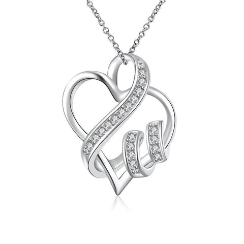 Swarovski Crystal I LOVE YOU Necklace in 18K White Gold Plated