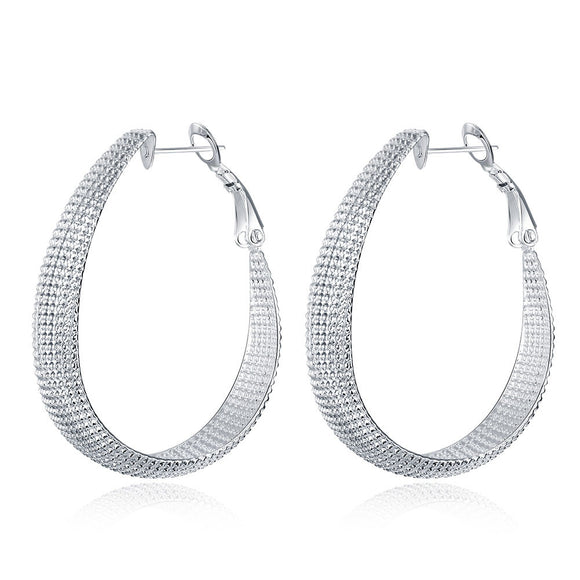 Beaded Hoop 4mm Earring in White Gold Plated
