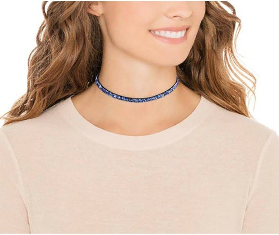 Made with Swarovski Crystal Choker Necklace Blue