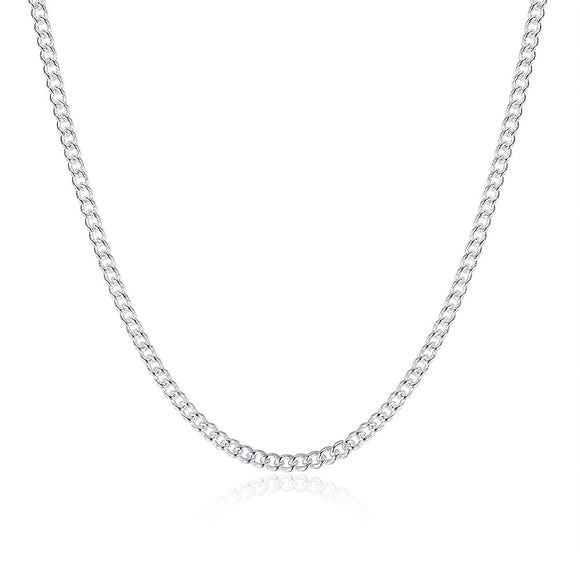 White Gold Plated Fiagro Chain Cuban Chain Unisex