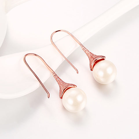 18K Rose Gold Drop Down Earrings with Pearls Made with Swarovksi Elements