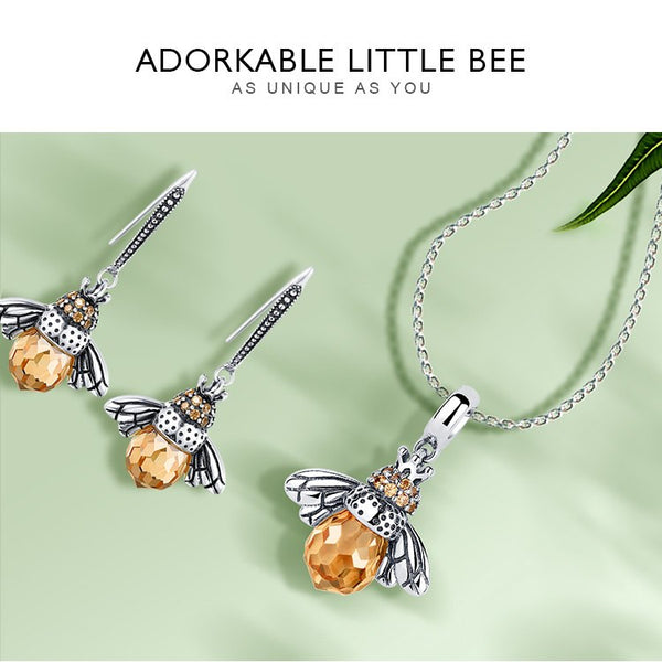 Sterling Silver Jewelry Set Lovely Orange Bee Animal Jewelry Sets