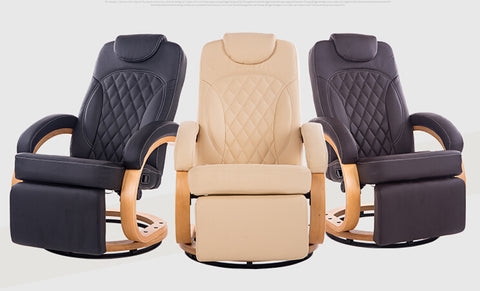 Modern Leather Recliner Chair 360 Degree Swivel Living Room Furniture Reclining Armchair Folding Lazy Chair Recliner Wood Base