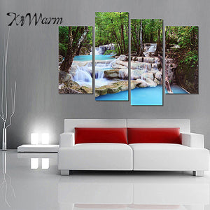 Beautiful 4Pcs Unframe Canvas Prints Picture Waterfalls Wall Art Paintings Frameless Home Hanging Decoration