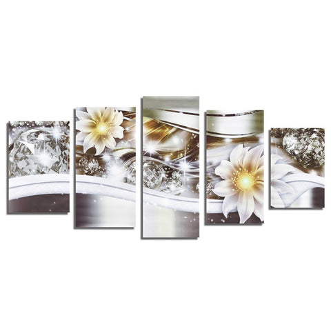 Beautiful 5PC Diamond Flower Art Unframed Print Canvas Wall Picture Home Hanging Decor Painting Mural