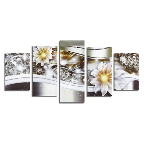 Beautiful 5Pcs Unframed Canvas Prints Picture Diamond Flowers Art Painting Mural For Home Hanging Wall Decor