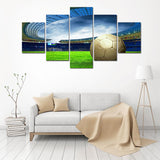Canvas Print Picture Football Field Pattern Golden Football Durable Oil Painting Canvas Football Match Beautiful
