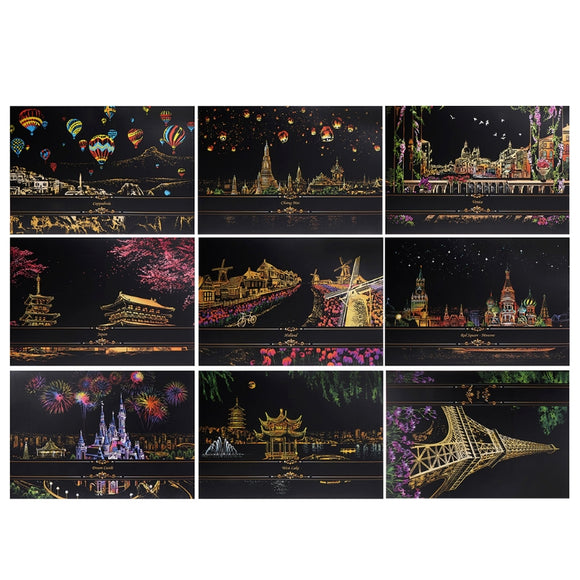 1Set Painting decorative paint Scraping drawing paper from scratch of the world of Tourism pictures home decor