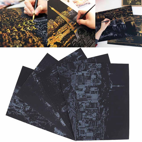 2pcs Decorative Painting Scratch Scraping Painting Drawing Paper World Sightseeing Pictures Home Decoration
